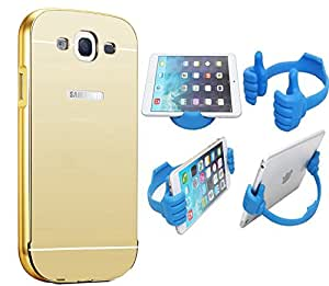 Novo Style Back Cover Case with Bumper Frame Case for Samsung Galaxy On7 Golden + Ok Stand For Smartphones And Tablets