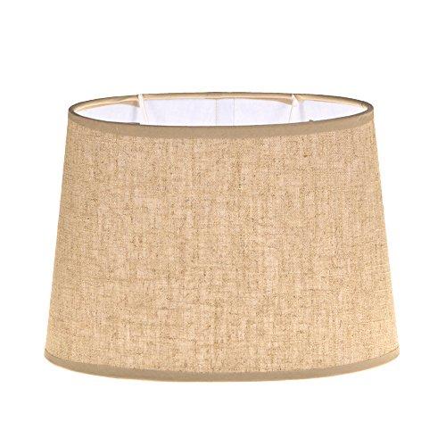 Lampenschirm PURE Stoff Textil Leinen Shabby Chic Landhaus Creme Beige Schwarz (Beige, Rund)