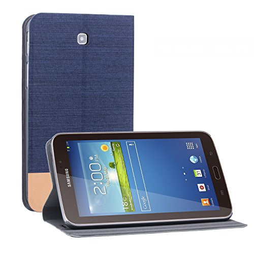 Galaxy Tab 3 Case, NOOT PRODUCTS® [Ultra Slim] Galaxy Tab 3 Flip Case [Lifetime Warranty] Premium Slim-Fit Protective Nylon Folio Case with Magnetic Flip Cover and Premium Grade TPU Casing [Auto Wake/Sleep Mode Feature] Cover for Samsung Galaxy Tab 3 7.0 inch Tablet SM-T210 | SM-T211 - Blue