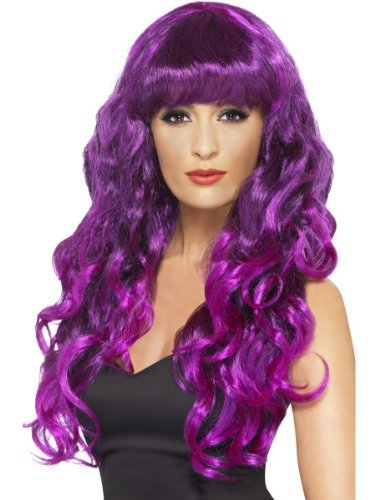 [Womens Long Curly Fringe Green Purple Glamour Gothic Sea Witch Fancy Costume Wig PURPLE & BLACK by] (Glamour Witch)