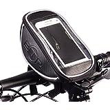 Wasserabweisende BTR-Fahrradtasche & Handyhalterung, schwarz, zur Befestigung am Lenker bzw. Steuer- oder Oberrohr, erhältlich in verschiedenen Größen (klein, mittel, groß)