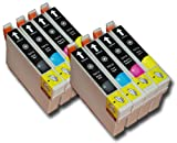 8 Chipped Epson T0711-4 (T0715) Cheetah Compatible Ink Cartridges for Epson Stylus SX610FW Printer