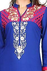 Feather Touch Women's Cotton Kurti (FT3126BU2_Blue_40)