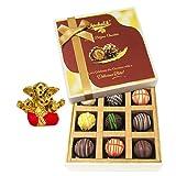 Chocholik Belgium Chocolates - 9pc Heavenly Treat Of Truffles With Small Ganesha Idol - Diwali Gifts