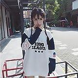 (べコ) Beco レディース ビッグトレーナー 英字ロゴプリント ボーダー柄袖 (L)