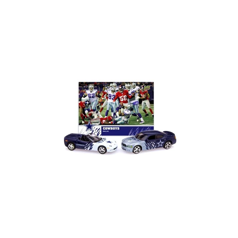 DALLAS COWBOYS NFL Diecast Dodge Charger & Chevrolet Corvette w/ Team Card
