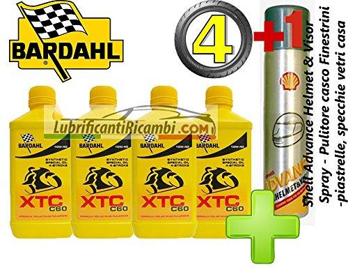 4-LT-OLIO-motore-moto-4t-BARDAHL-BARDHAL-XTC-C60-10W40-100-Sintetico-Shell-Advance-Helmet-Visor-Spray-Pulitore-casco-Finestrini-auto-piastrelle-specchi-e-vetri-casa