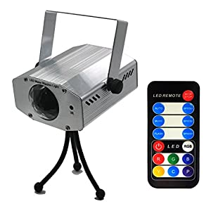 Vnina Party lights 7 color Water Wave LED Projector with remote control Romance and Relax Effect stage lighting Multicolor Led bulbs Or Single Color:Red Green and Blue Light (silver)