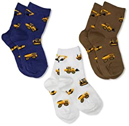 Jefferies Socks Little Boys\' Construction Triple Treat Socks  (Pack of 3), Putty, Toddler