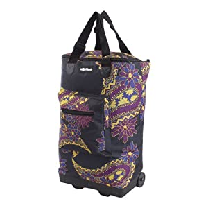 """More4bagz 21"""" Lightweight Cabin Flight Hand Luggage Travel Holdall Carry Suitcase Baggage Wheeled Trolley Weekend Bag - Fits Most Airlines, Ultra Light Cabin Bag (Black Paisley)"""