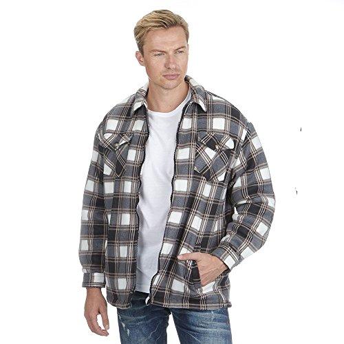 Herren-flanell Lumberjack Kariertes Hemd Fleece Gefüttert Warm Arbeitskleidung Winter - Grau Kariert, XXL