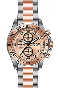 Invicta Men's 15208 Pro Diver Chronograph Rose Gold Dial Two Tone Stainless Steel Watch