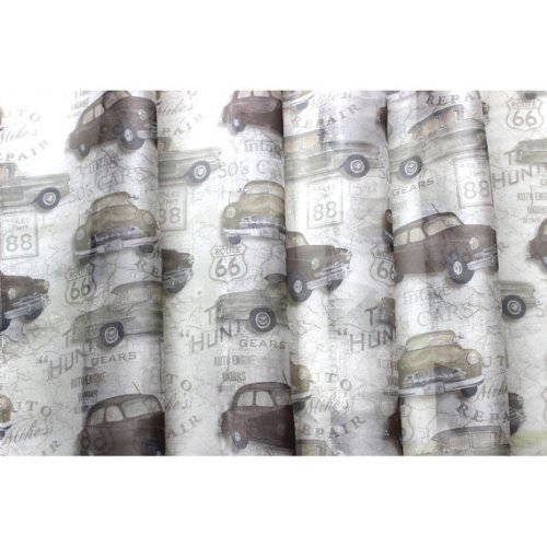 54 Wide Vintage Car Rally Printed Sheer Curtain Fabric Window Treatment Fabric Bedroom Grommet Curtain Fabric Shower Curtain Fabric By The Yard vintage elephants fabric shower curtain