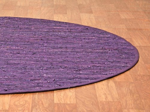 Matador Leather Chindi Round Rug, Purple, 6 by 6-Feet