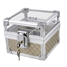 uxcell Silver Tone Metal Dots Pattern 4 Sections Lock Square Seal Holder Signet Box w Keys