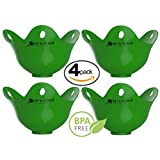 Silicone Egg Poacher - 4 Pack Egg Cookware Cups, Egg Cooker, Cooking Perfect Poached Eggs In Minutes! Replaces Your Microwave Egg Poacher - Egg Rings - Egg Boiler, Its a Must Have Kitchen Gadget
