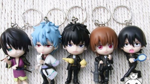 5 pcs Gintama figure Key Chain Keyring keychain
