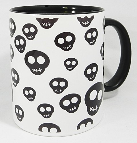 The Happy Skulls Design Mug with glazed black handle and inner by Half a Donkey