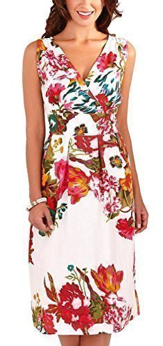 Martildo Fashion, Ladies Vibrant Floral Print Knee Length Dress, Pink, Large (UK 16-18)