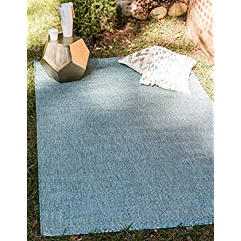 Unique Loom Outdoor Collection Casual Solid Accent Home Décor Aquamarine Area Rug (4 x 6)
