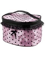 TOOGOO(R) Sac portable de cosmetique en fond rose a pois noir avec dentelle + Miroir