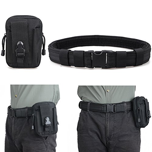 Triwonder Men's 1.5 Inch Tactical Heavy Duty Belt Combat Gear Utility Nylon Belt with Side Release Buckle (Black & EDC Pouch) (Side Pouch compare prices)