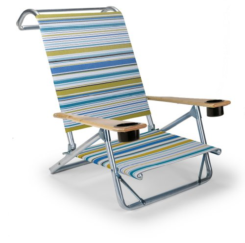 Telescope Casual Original Mini-Sun Chaise Folding Beach Arm Chair with Cup Holders, Coastline