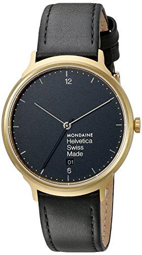 Mondaine Unisex MH1L2221LB Helvetica Analog Display Swiss Quartz Black Watch