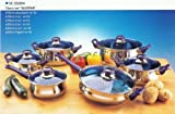 12 Stainless Steel Piece Cookware Set Lid Material: Blue Glass by Gourmet Chef