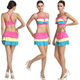 Good-Looking Multi Colored Salient Haltered Neck Skirted Bikini Set.