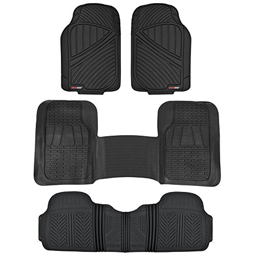 MotorTrend FlexTough Rubber Floor Mats & Liners Mega Truck/SUV Combo - Heavy Duty Odorless (Black) (Buick Enclave Car Mats compare prices)