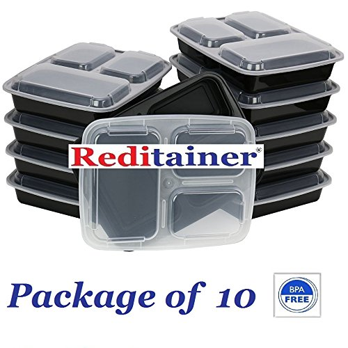 Reditainer 3-Compartment Microwave Safe Food Container with Lid/Divided Plate/Lunch Tray with Cover, Black, 10-Pack (Pactiv Containers compare prices)