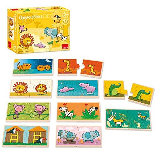 Goula - Los contrarios con animales, puzzle de madera, 10 x 2 piezas (Diset 53437)