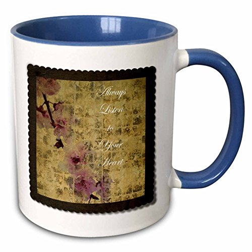 PS Inspirations - Listen To Your Heart Inspired Cherry Blossom Floral - 11oz Two-Tone Blue Mug (mug_63428_6)