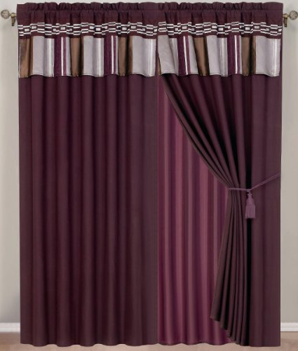 "1 Pair Of Claudia Purple Window Curtain Set Including 2 Panels 60X84"" Each"