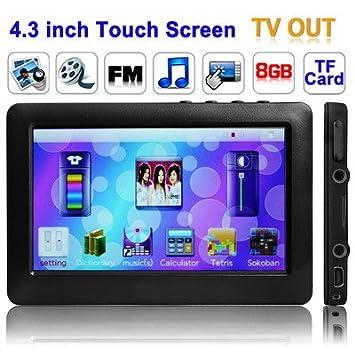 Gadget et Gift Ltd 4.3 inch Ecran Tactile 8GB Lecteur MP5, Support FM Radio, E-Book, Jeux, TV Out (Noir)