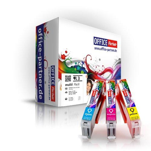 Farbset - 3 Tintenpatronen kompatibel zu CANON CLI-551 XL (je 1x CLI-551C/M/Y) für CANON Pixma iP7250 MG5450 MG6350 MX725 MX925