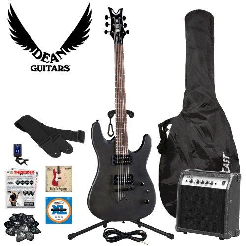 Dean Guitars VNXM-TBKS-AMP-KIT Vendetta XM Black Satin Electric Guitar Kit - Includes: Cable, Strings, Strap, Stand, Planet Waves 12-Pick Shredder Pack, Gig Bag and 10-Watt Amp