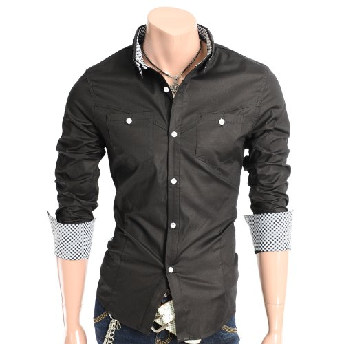 Mens Check Patched Casual Shirts BLACK (AT877)