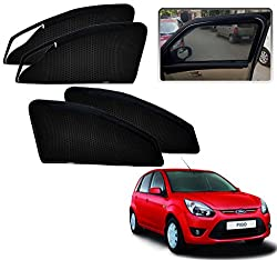 Kozdiko Zipper Magnetic Sun Shades Car Curtain For - Ford Figo Old before 2015 - Black - Set of 4Pcs.