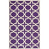 Safavieh Cambridge Collection CAM125K Handmade Purple and Ivory Wool Area Rug, 5 feet by 8 feet (5' x 8')