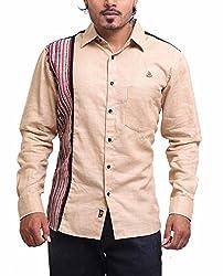 PP Shirts Men Linen Casual Shirts ( Creame M )