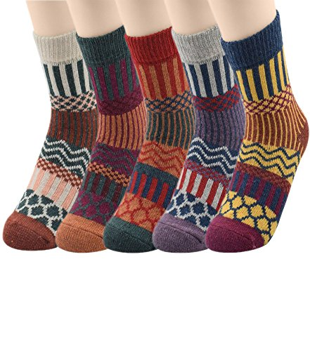 Passionate Adventure Womens Thick Knit Warm Casual Wool Crew Wool Winter Socks 5 Pack Stripe (Club America Sweats compare prices)