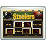 NFL Pittsburgh Steelers Football Scoreboard Wall Clock with Date & Temperature