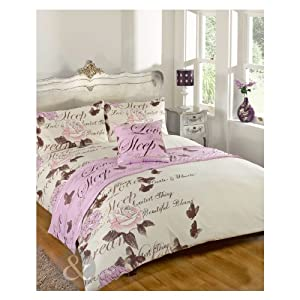 Butterfly Floral Complete Bed Set Cream Lilac Purple