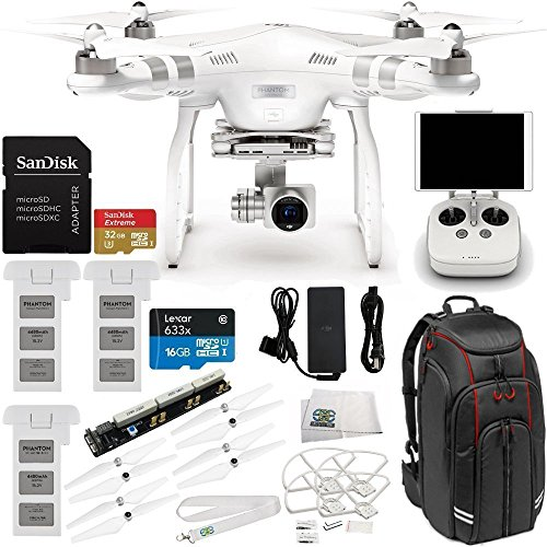 DJI Phantom 3 Advanced Quadcopter Drone with 1080p HD Video Camera & Manufacturer Accessories + 2 Extra DJI Batteries + Manfrotto MB BP-D1 DJI Professional Video Equipment Cases Drone Backpack + MORE