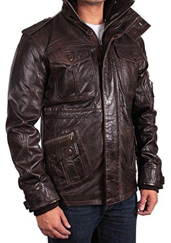 Brandslock-Uomo-vera-pelle-Giaccone-motociclista-di-stile-vintage-con-zip-Tasche-Casual-Equipaggiata