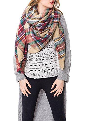 Zando-Plaid-Blanket-Thick-Winter-Scarf-Tartan-Chunky-Wrap-Oversized-Shawl-Cape