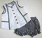 Calvin Klein Baby/Infant Girl's 2 Piece Shirt/Bloomer Set - Black/White (0-3 Months)