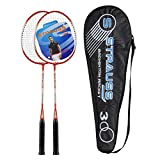 Strauss Power 300 Badminton Racquet with cover (Black/Red), Pack of 2